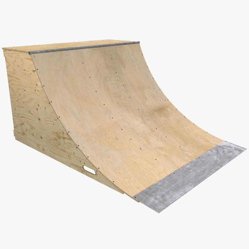 3d model of quarter pipe skate ramp