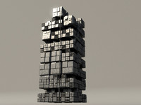 sci fi box building 3d obj