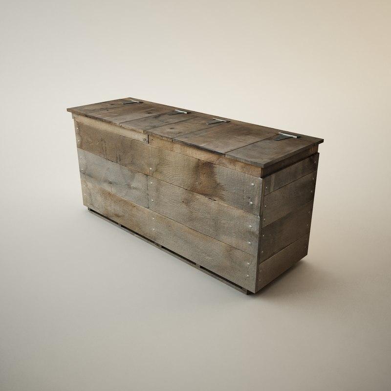 3d wooden storage bin model