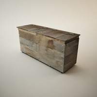 3d wooden storage bin model