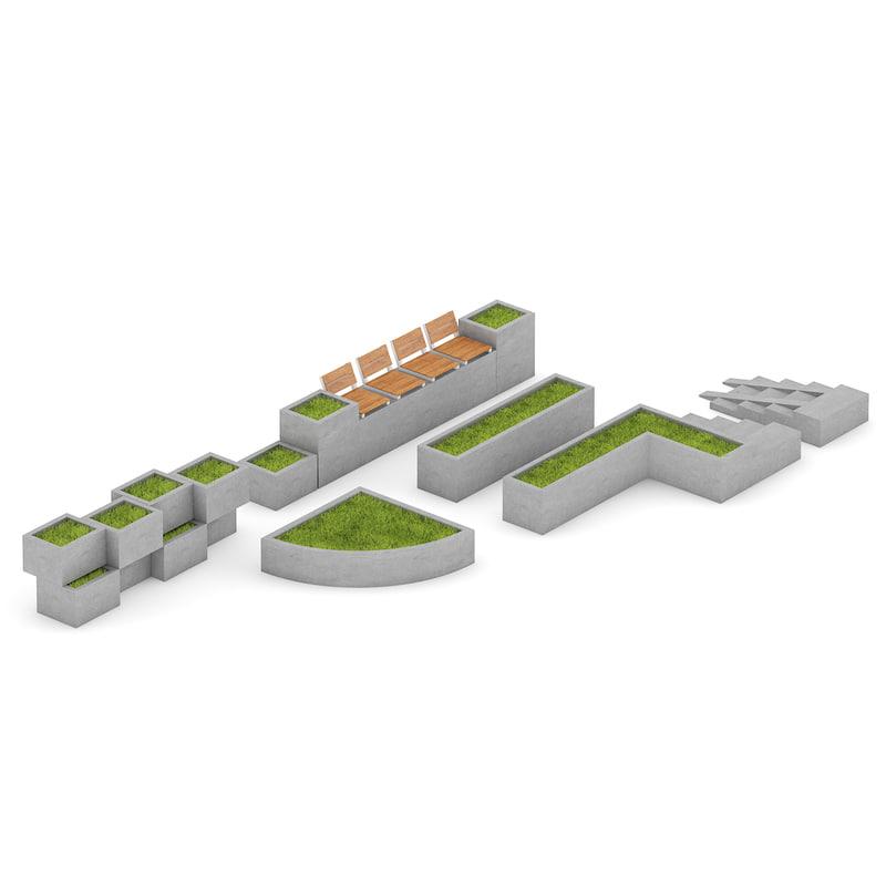 park concrete elements 3d max