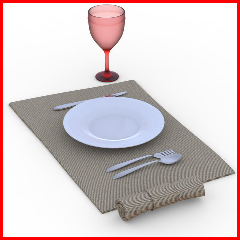 dinner table set 3d model