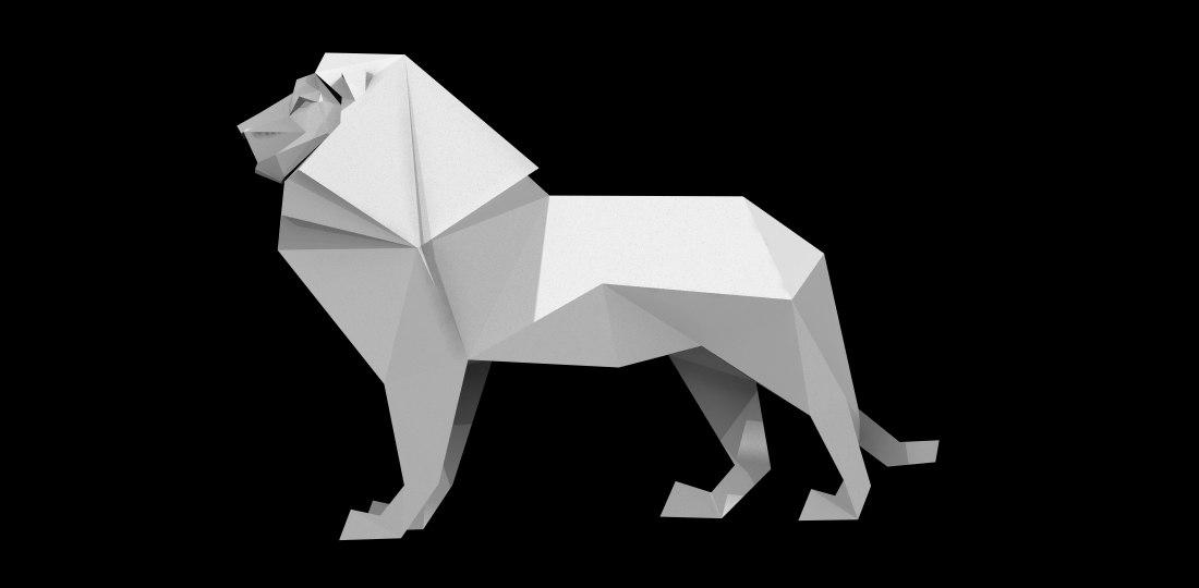 Origami Lion 3d Obj