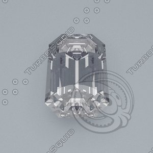 3d model emerald cut gemstone