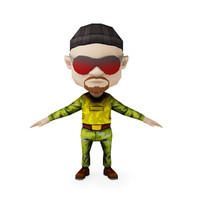 Game Ready Cartoon Style 3D Model of Small Soldier in Body Armor