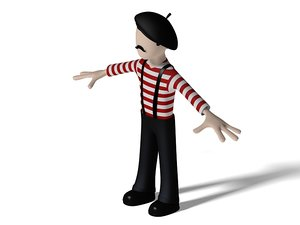 french cartoon character 3d model