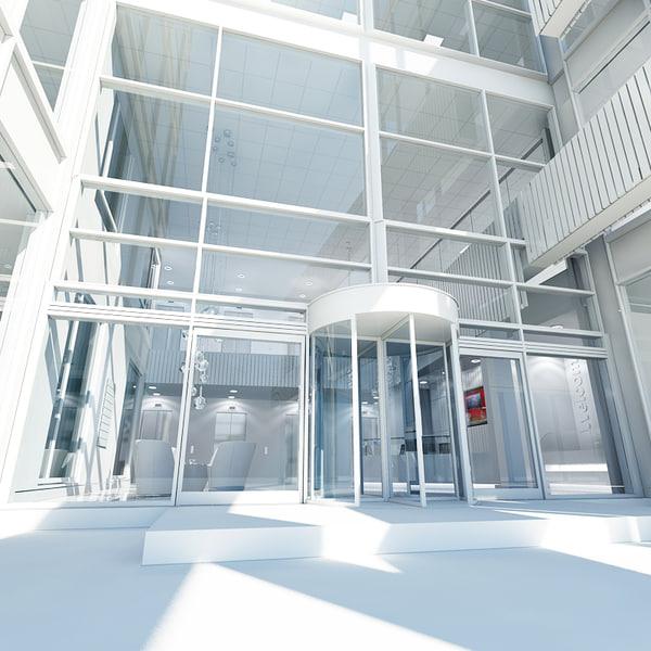 3d model office interior reception 2
