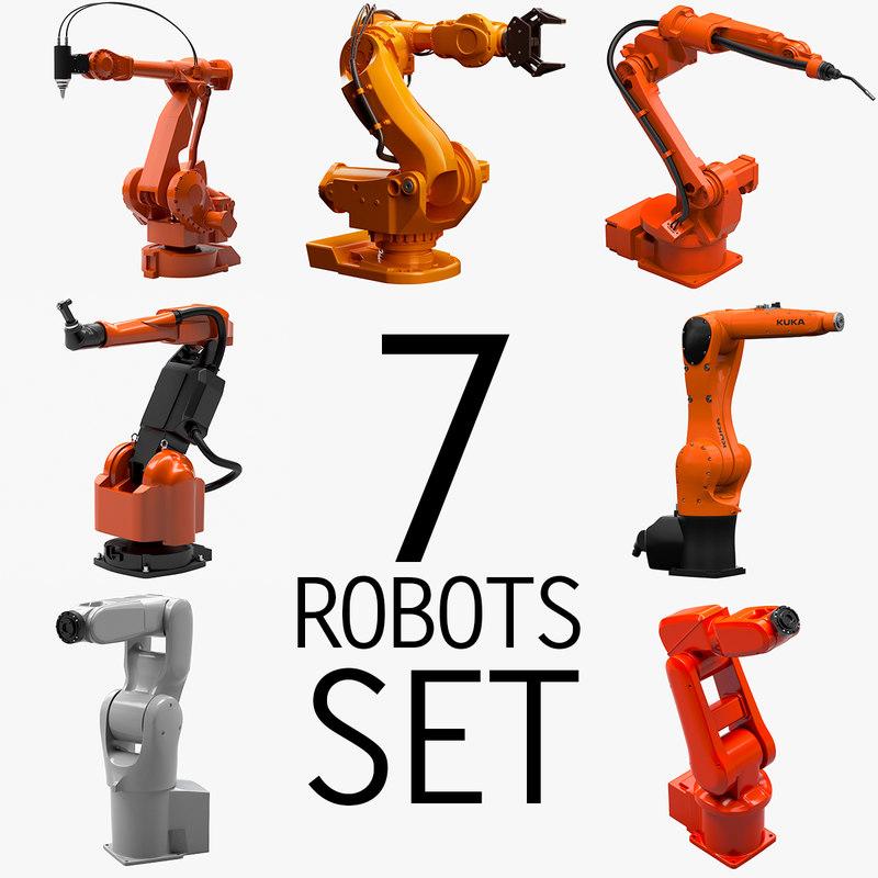 3d 7 industrial robots set model