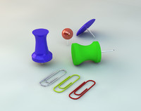 thumbtacks paper clips 3d obj