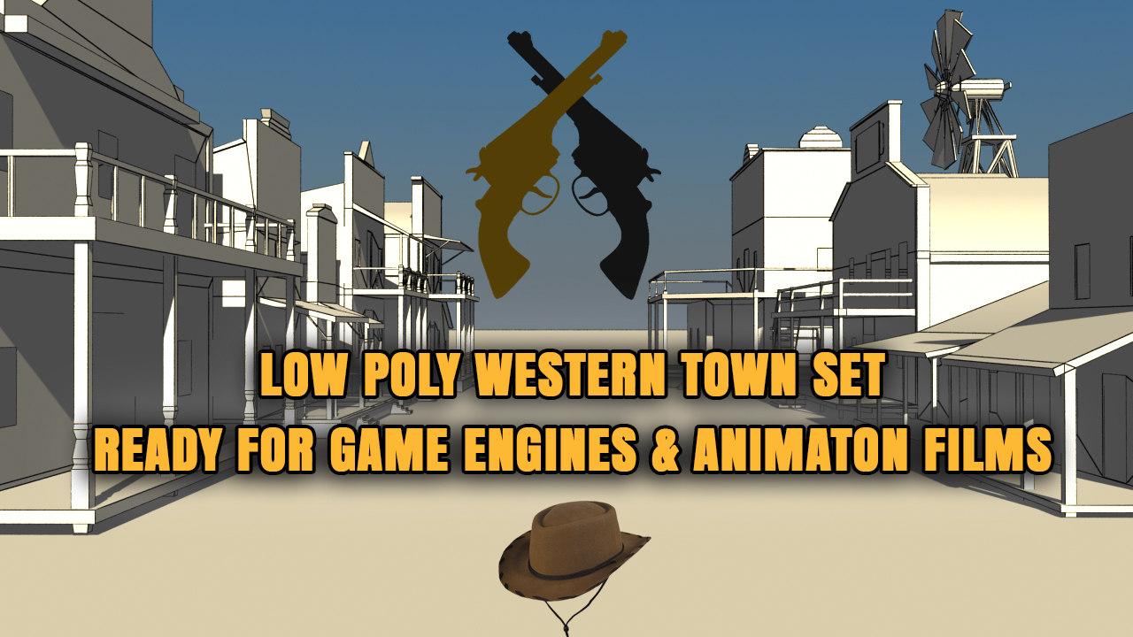 western town buildings 10 3d max