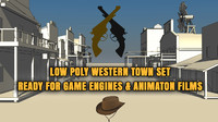 Low Poly Western Town with 10 Buildings