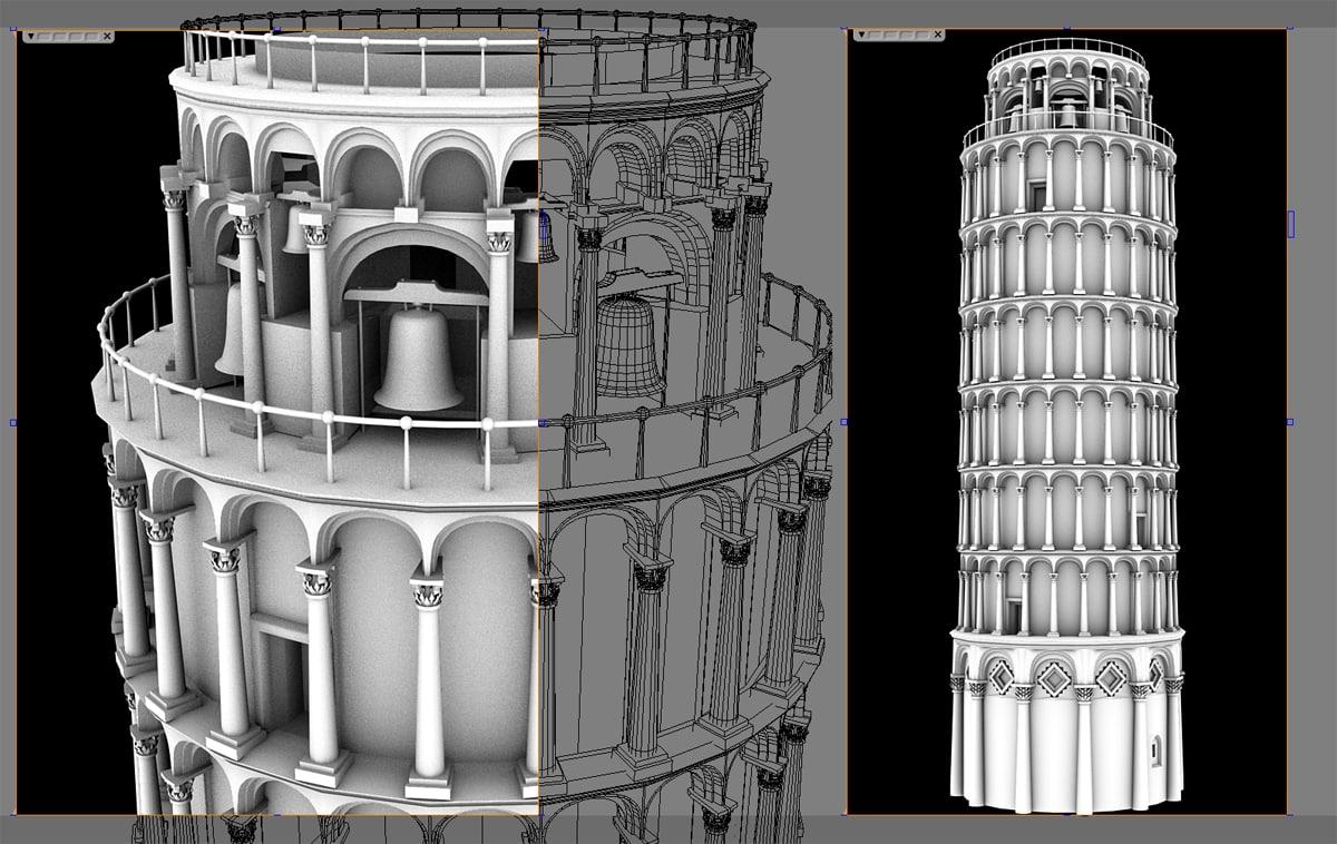 3d model leaning tower pisa