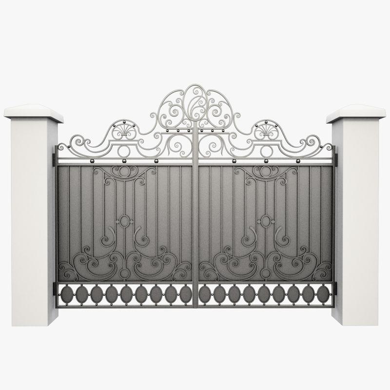 wrought iron gate obj