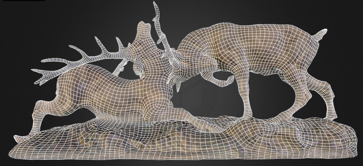 deer statue 3d obj