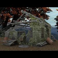 3d model buildings ruins destroyed