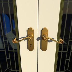 3d double-door hardware door knobs model