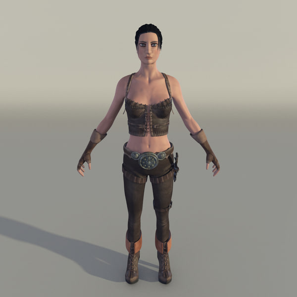 female fighter 3d obj