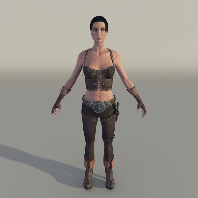 female fighter 3d obj