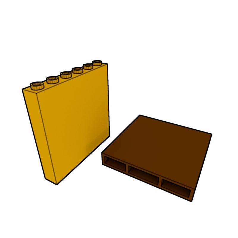 3d model piece lego brick 1x6x5