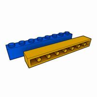 3d piece lego brick 1x8
