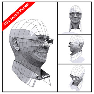 3d male head polys