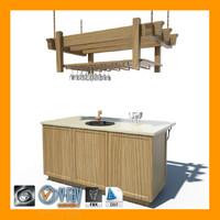 3d model of kitchen island