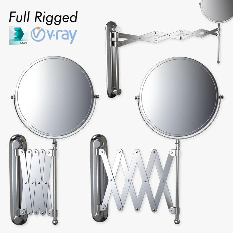 3d scissor wall mirror rigged