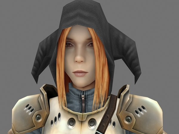 low-poly fantasy girl character 3d max