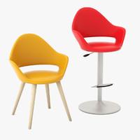 3d soft-l armchair soft-sg bar stool