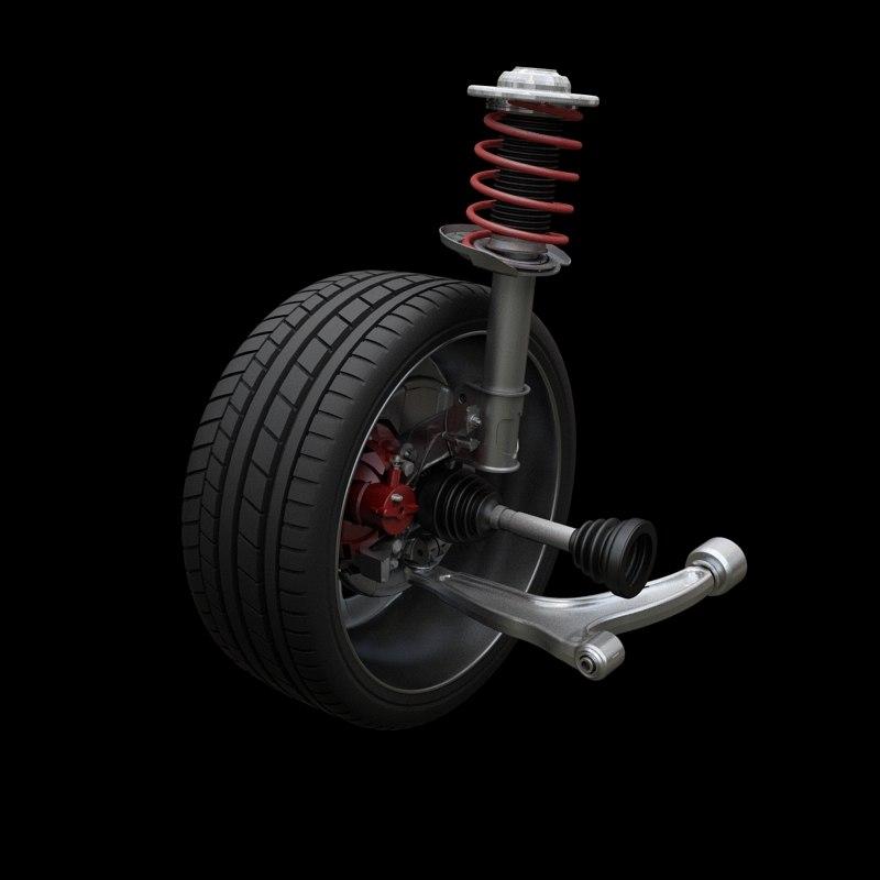 mcpherson suspension 3d model. Black Bedroom Furniture Sets. Home Design Ideas