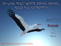LOW POLY WHITE STORK 3D MODEL FULLY RIGGED & ANIMATED