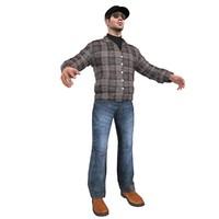 truck driver man 3d model