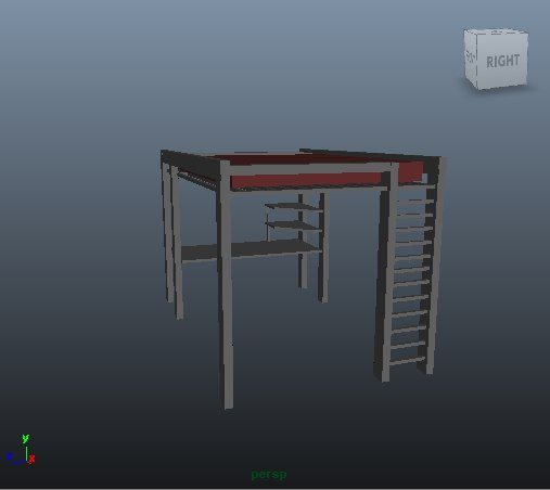 3d model modern loft bed desk