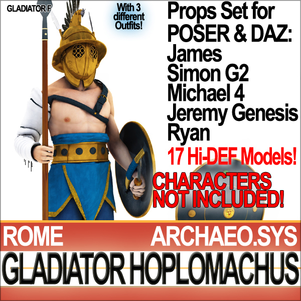 props set daz roman gladiator 3d model