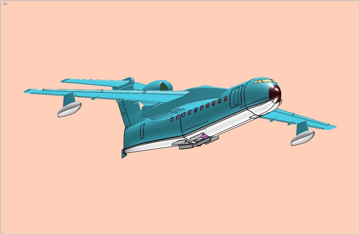 3d be-200 aircraft solid assembly model