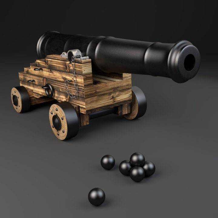 18th naval cannon 3d obj