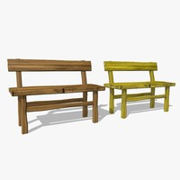 wooden benches fbx