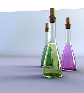 3d obj glass bottle