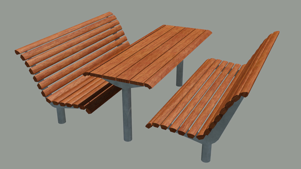 3ds park benches table