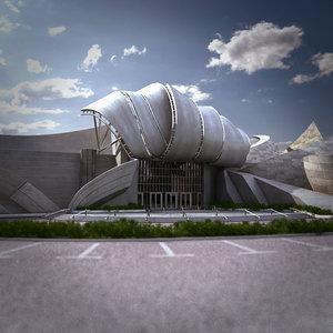 modern entrance building 3d model