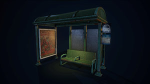 city bus stop bench 3d model