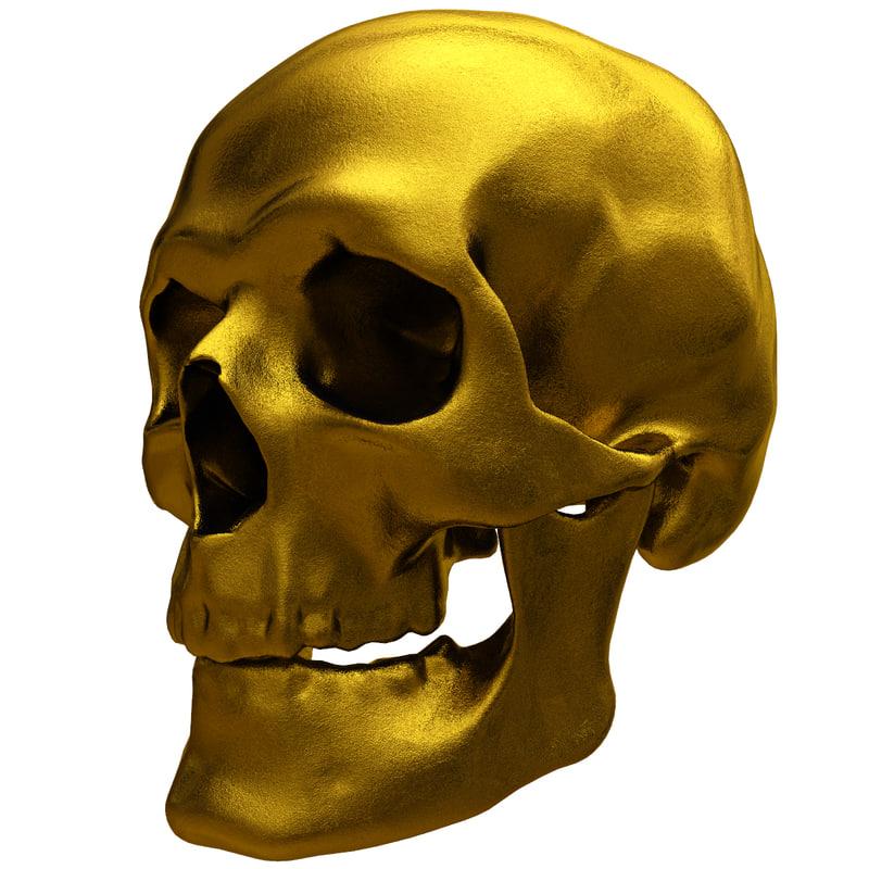 3ds max gold human skull