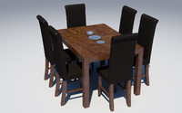 3d model kitchen furniture set chairs