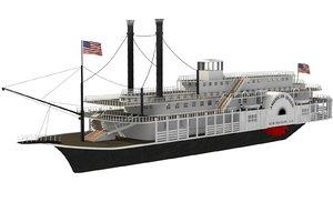 historic paddle river boat 3d model