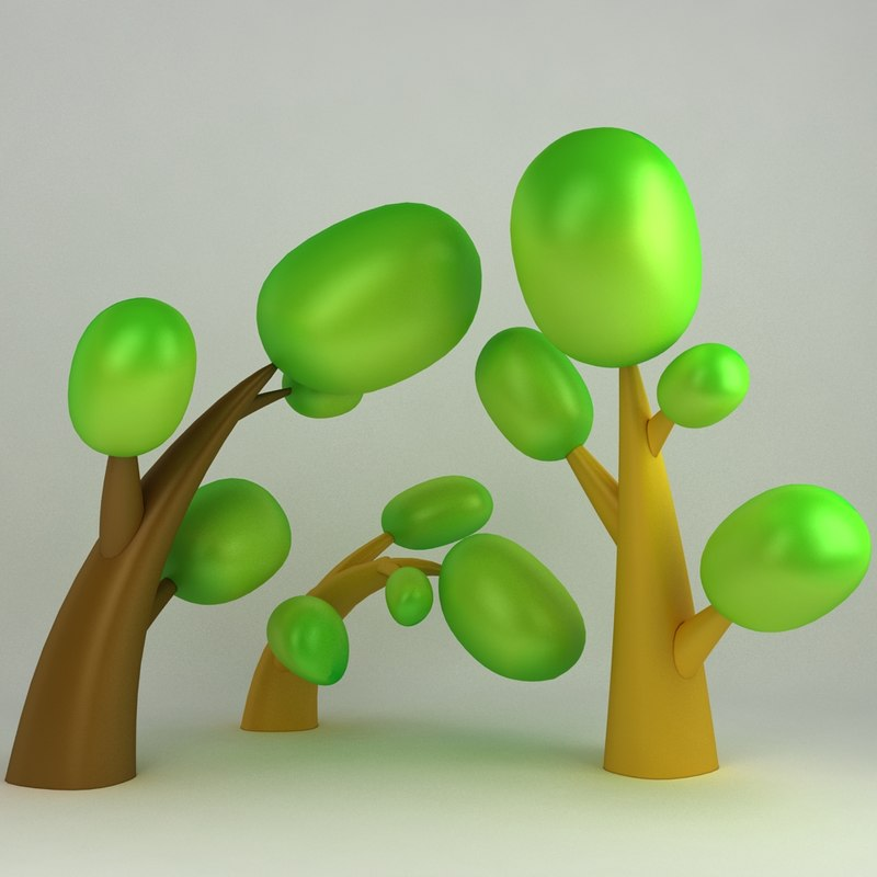 cartoon tree 3d obj