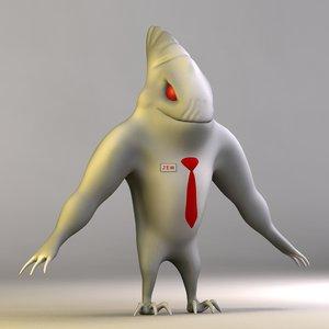 jem cartoon shark rigged character 3d model