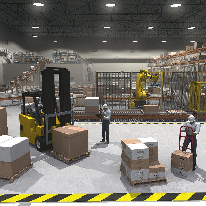 3dsmax cargo warehouse robot