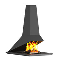 c4d floor fireplace modern