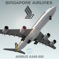 airbus a340-500 plane singapore 3d c4d