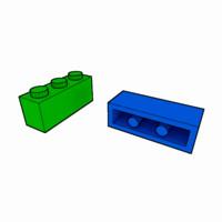 3ds max piece lego brick 1x3
